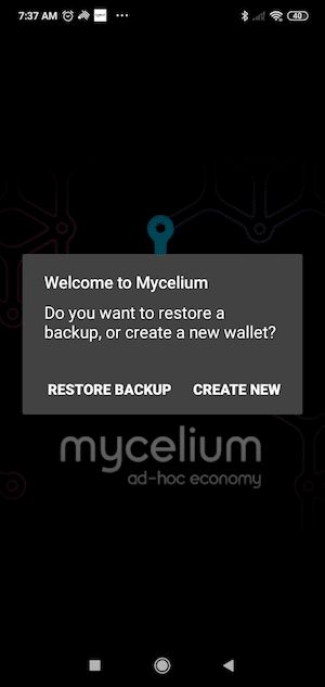 Download the Mycelium Wallet app from iTunes (iOS) or Google Play store and install.