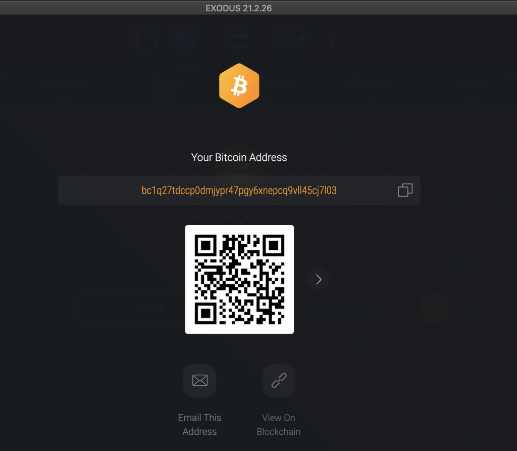 Step 4: Send and receive Bitcoin and other cryptocurrencies supported by the crypto wallet.